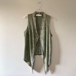 Olive Green Stud Lined Vest